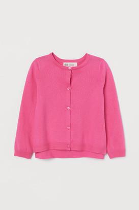 H&M Fine-knit Cotton Cardigan - Pink