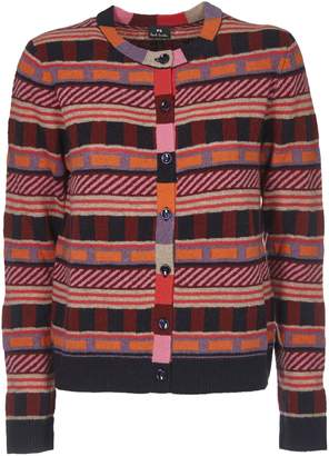 Paul Smith Multicolor Cardigan With Geometric Pattern