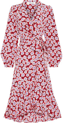Diane von Furstenberg Carla Two Ruffled Printed Silk Crepe De Chine Wrap Dress