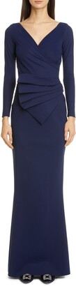 Chiara Boni Kaya Long Sleeve Ruffle Gown