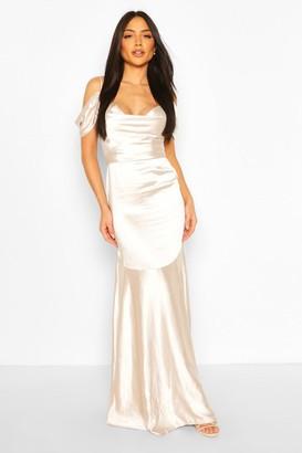 boohoo Occasion Satin Cowl Peplum Hem Maxi Dress