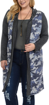 Celeste Navy Camouflage Hooded Open Cardigan - Plus