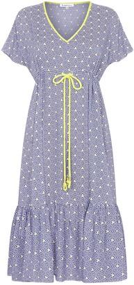 Libelula Midi Violet Dress Blue Stripey Triangle Print