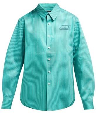 Martine Rose Striped Slim Fit Cotton Poplin Shirt - Womens - Green Multi
