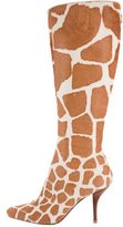 Sergio Rossi Printed Ponyhair Knee Boots