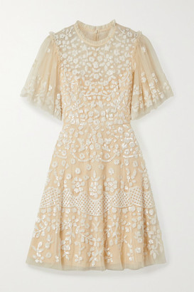 Needle & Thread Honesty Flower Sequined Tulle Mini Dress - Pastel yellow