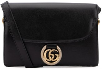 Gucci GG Logo Ring Foldover Structured Shoulder Bag