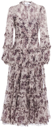 Zimmermann Tiered Ruffled Floral-print Georgette Midi Dress