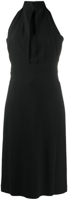 Alberta Ferretti Pleated Halter Neck Dress