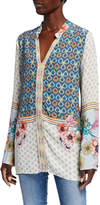 Johnny Was Becca Placed Print V-Neck Long-Sleeve Tunic