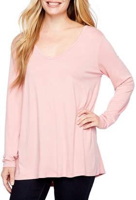 A.N.A Petite Womens V Neck Long Sleeve Tunic Top
