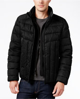 Perry Ellis Men's Colorblocked Quilted Puffer Coat with Removable Bib