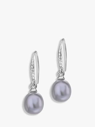 Dower & Hall Sterling Silver Oval Freshwater Pearl Drop Earrings