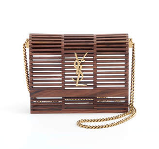 Saint Laurent Small Kate Wooden Weave Box Bag