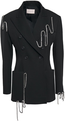 Christopher Kane Squiggle Cupchain Crystal-embellished Twill Blazer