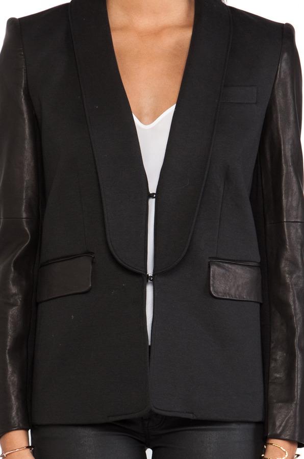 Alice + Olivia Hartley Leather Sleeve Blazer