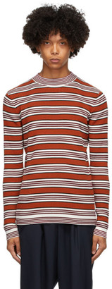 Marni Red and White Striped Mock Neck Sweater