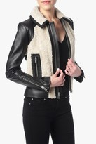 7 For All Mankind Black Moto Leather Jacket With Sherpa