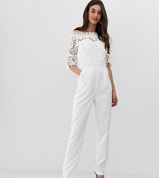 Paper Dolls Tall bardot cutwork lace tailored jumpsuit in white