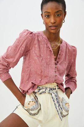 Pilcro And The Letterpress Pilcro Jolie Pintucked Blouse By in Pink Size XS