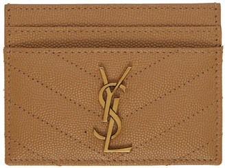 Saint Laurent Brown Monogramme Card Holder