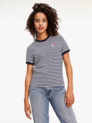Tommy Hilfiger Recycled Stripe Heart Logo T-Shirt