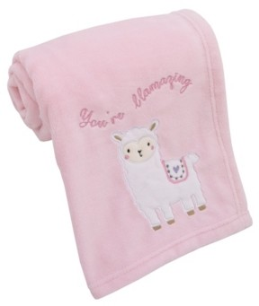 NoJo Infant Girl's Sweet Llama and Butterflies Super Soft Baby Blanket with Applique and Embroidery Bedding