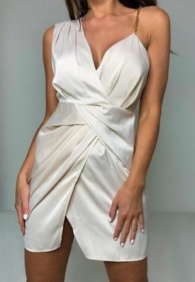 Missguided Champagne Satin Chain Detail Drape Twist Mini Dress