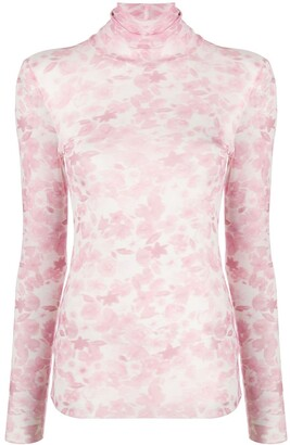 Ganni Sheer Floral-Print Top