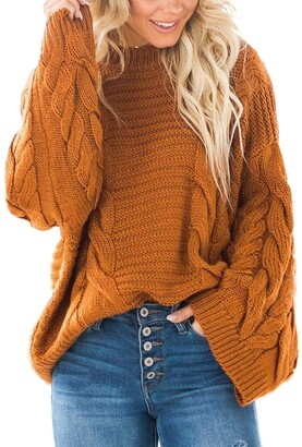 BLENCOT Women Chunky Round Neck Jumpers Solid Color Twisted Long Sleeve Tops Oversized Sweater Pullover Gray