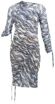 Atlein - Wave-print Ruched Midi Dress - White Navy