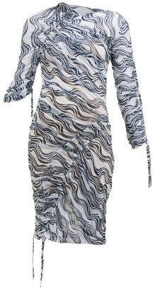 Atlein - Wave-print Ruched Midi Dress - Womens - White Navy