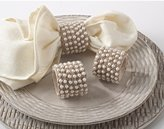Fennco Chic Jute with Pearls Napkin Rings, Set of 4