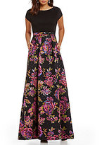 Adrianna Papell Boat Neck Short Sleeve Floral Jacquard Ball Gown