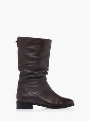 Dune Wide Fit Rosalinda Leather Calf Boots, Brown