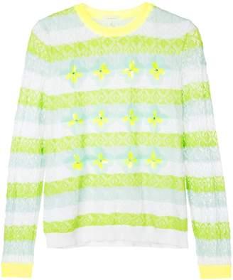 DELPOZO striped floral sweater