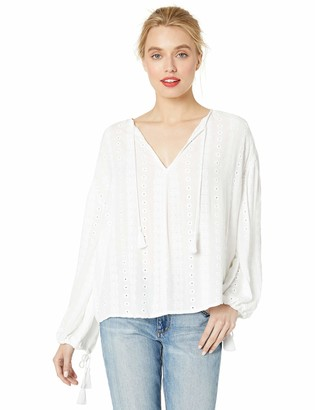 Cupcakes And Cashmere Women's Lapierre Embroidered Gauze Peasant top