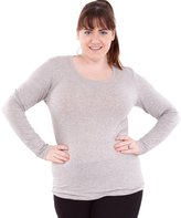 Clothes Effect Ladies Plus Size Round Neck Long Sleeve T-Shirt