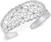 Macy's Diamond Daisy Open Cuff Bangle Bracelet (1/3 ct. t.w.) in Sterling Silver