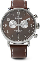 Shinola Canfield Chronograph 43mm Stainless Steel and Leather Watch