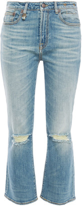 R 13 Distressed Faded High-rise Kick-flare Jeans
