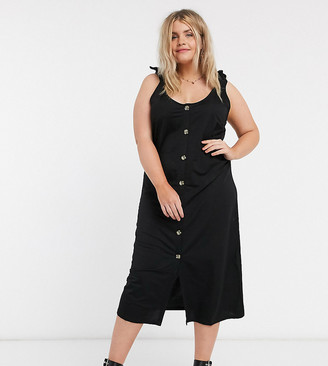 Vero Moda Curve midi dress with tie shoulder and button front in black