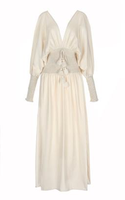 ESCVDO Women's Sanna Handwoven Cotton Maxi Dress - White/black - Moda Operandi