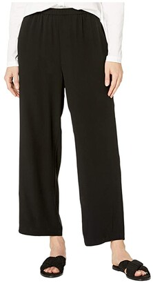 Eileen Fisher Silk Georgette Crepe Straight Ankle Pants (Black) Women's Casual Pants