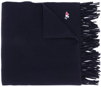 MAISON KITSUNÉ Embroidered-Logo Wool Scarf