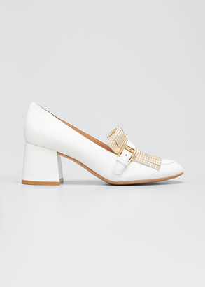 Gianvito Rossi Studded Kiltie Leather Loafer Pumps