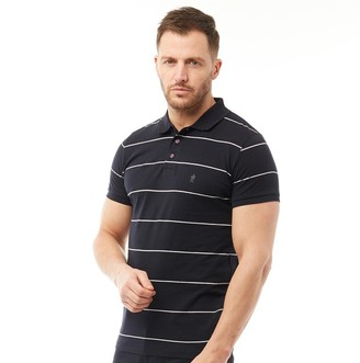 French Connection Mens Thin Stripe Polo Marine/White