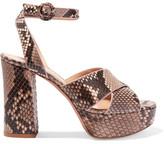Gianvito Rossi Python Platform Sandals - Beige