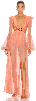 PatBO Long Sleeve Mesh Beach Dress in Neon Coral | FWRD