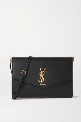 Saint Laurent Uptown Mini Textured-leather Shoulder Bag - Black